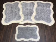 ROMANY WASHABLES TRAVELLERS 4 MATS NON SLIP NEW DESIGN SUPER THICK SILVER-CREAMS